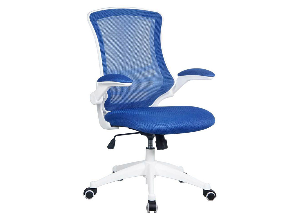 Luna Mesh Task Chair with Folding Arms and White Frame - Blue