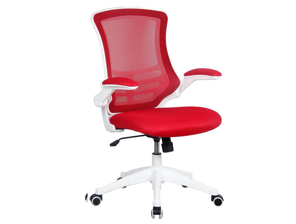 Luna Mesh Task Chair with Folding Arms and White Frame - Red