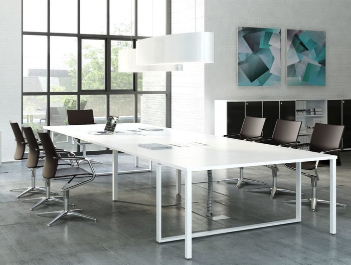 Ellipse Overhead Office Meeting Room Lighting with White Table and Black Chairs