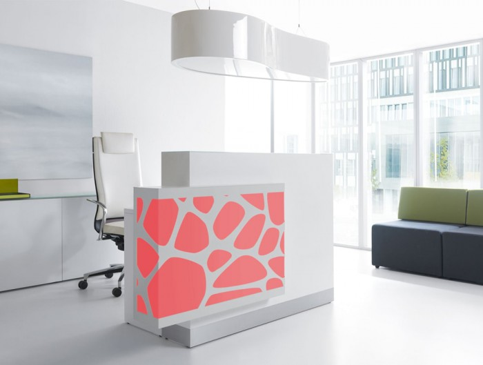 Ellipse Overhead Office Reception Lighting with Desk Chair Storage and Sofas Seating