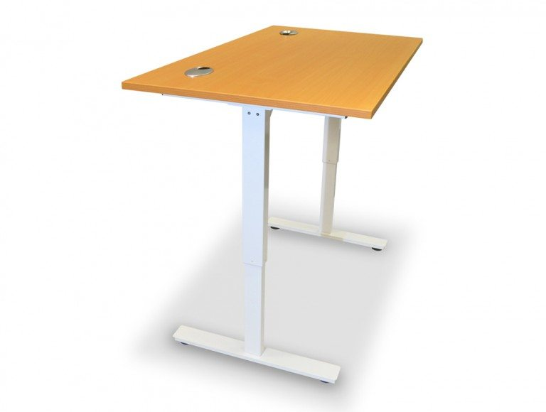 ErgoLift Sit-stand Electric Adjustable Desk White Frame in Beech