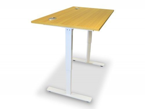 ErgoLift Sit-stand Electric Adjustable Desk White Frame in Light Oak