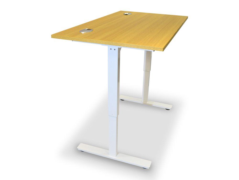 ErgoLift Sit Stand Electric Adjustable Desk In Light Oak