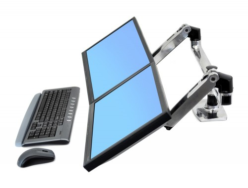 Ergotron LX dual side by side desk mount LCD arm lifted