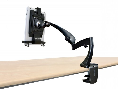Ergotron neo flex  black desk mount tablet arm back angle