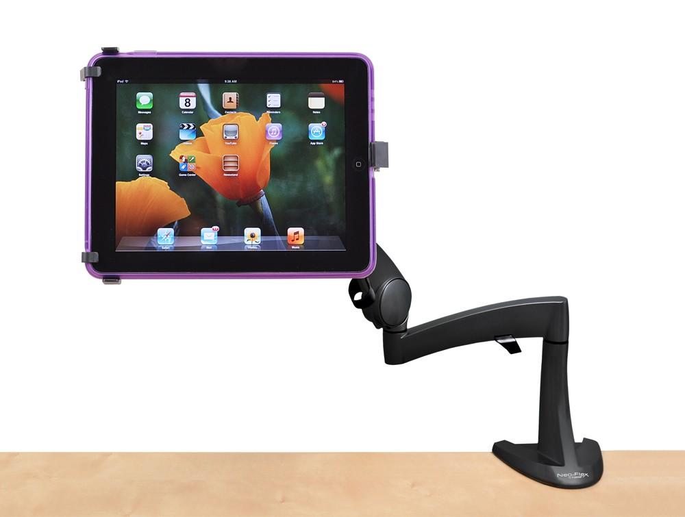 Ergotron neo flex desk mount tablet arm in horizontal angle