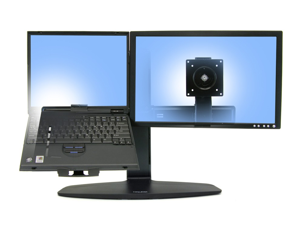 Ergotron neo flex LCD and laptop lift stand with monitor and laptop or vertical view screen