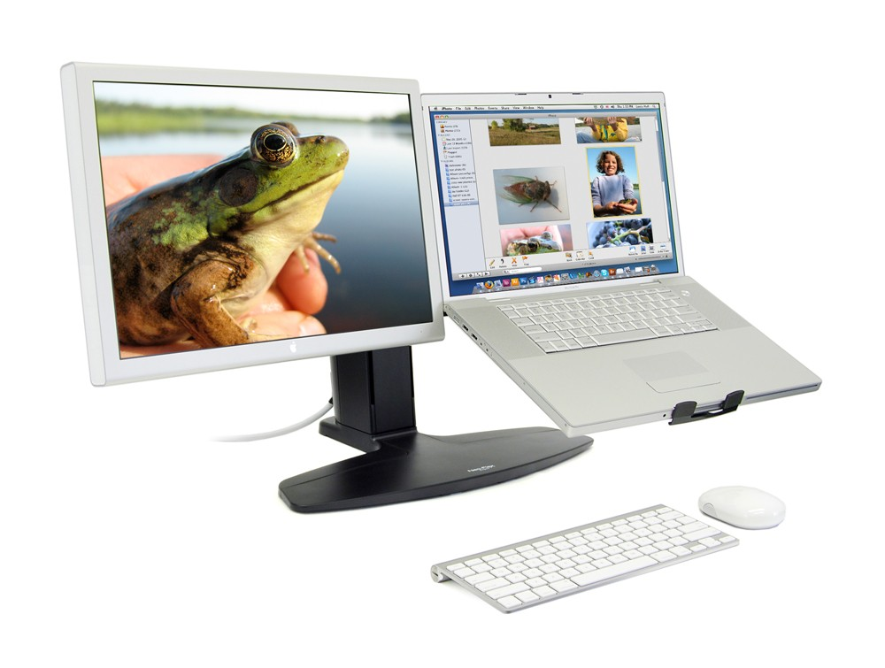 Ergotron neo flex LCD and laptop lift stand white desktop and white laptop