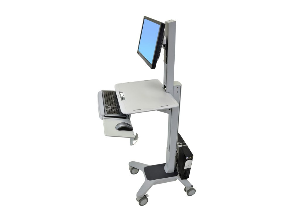 Ergotron WorkFit C Single LD Sit Stand Workstation Side Angle