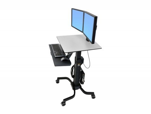 Ergotron WorkFit C Sit Stand Workstation Dual side angle