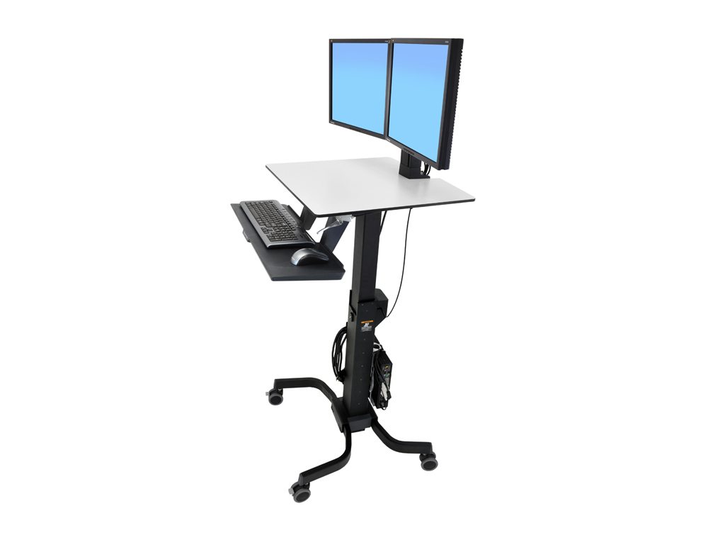 Ergotron WorkFit C Sit Stand Workstation Dual side angle Adjusted
