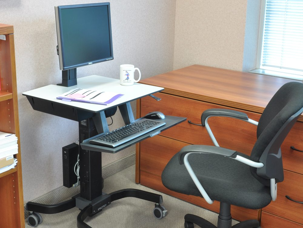 Ergotron WorkFit C Sit Stand Workstation without a user