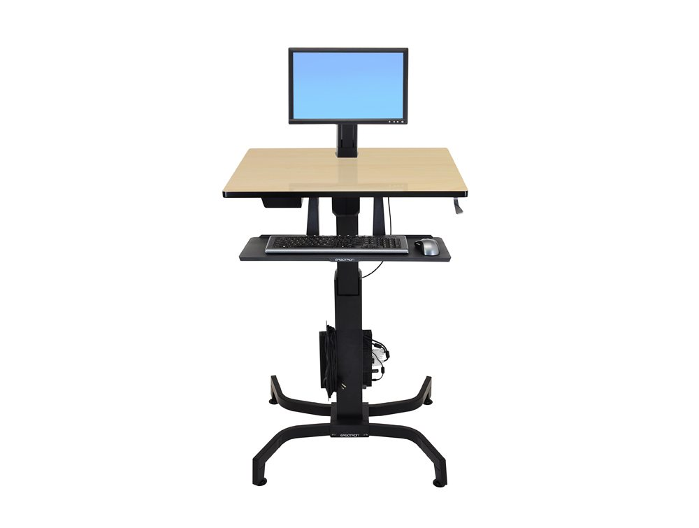 Ergotron WorkFit PD Sit Stand Desk in Birch Front Angle