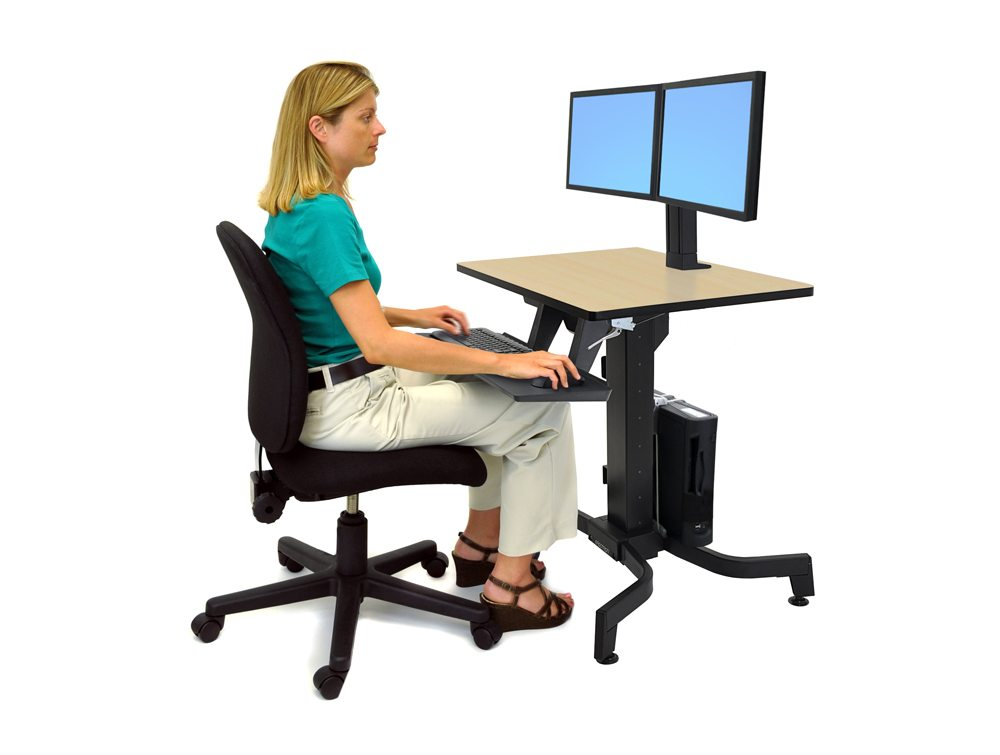 Ergotron WorkFit PD Sit Stand Desk in Birch Side Angle