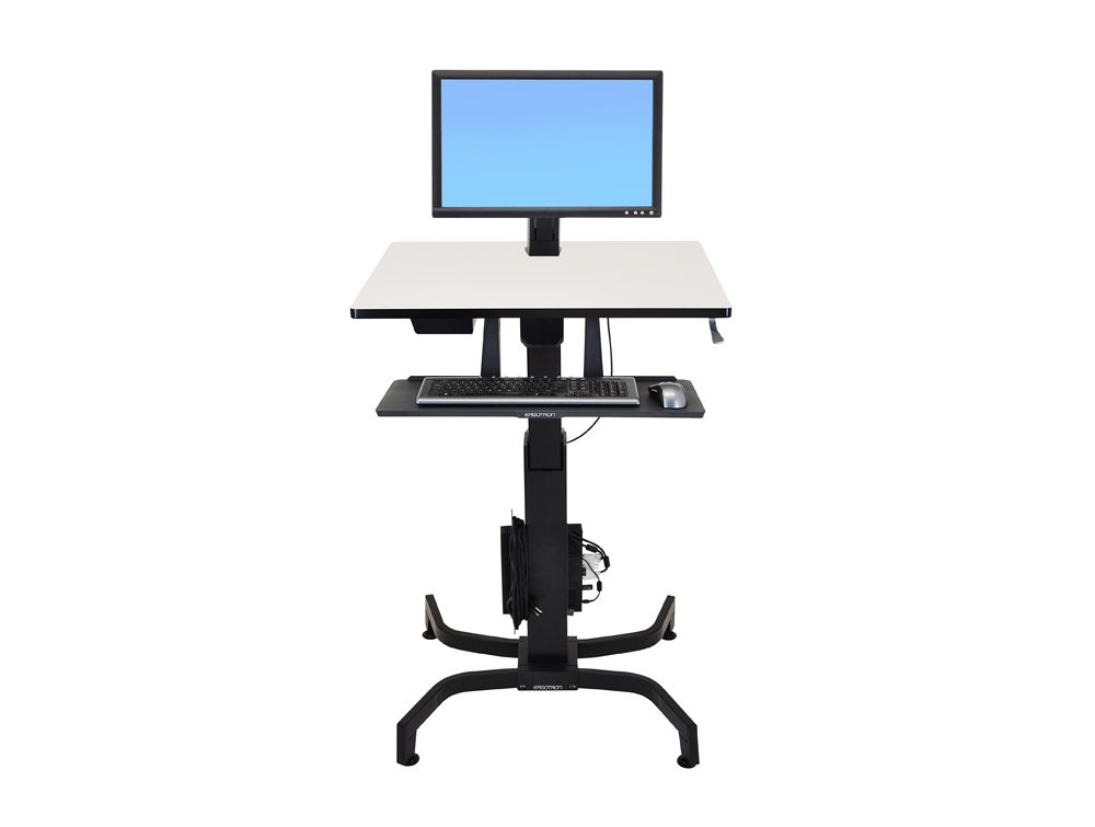 Ergotron WorkFit PD Sit Stand Desk in Grey Front Angle