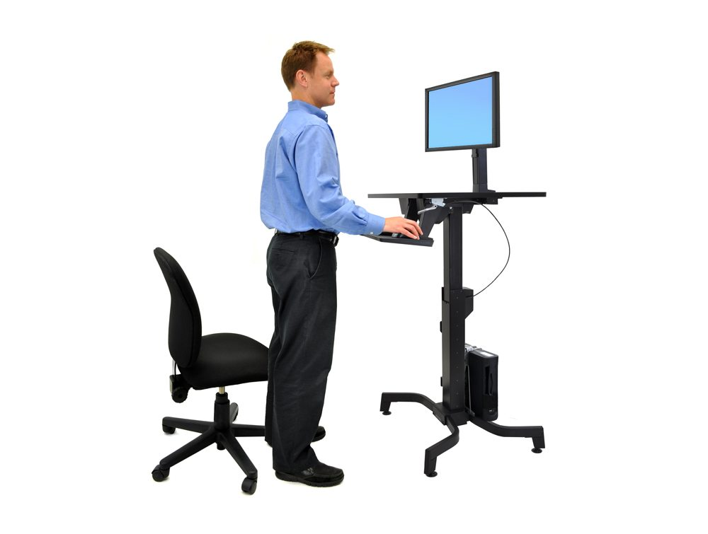 Ergotron WorkFit PD Sit Stand Desk in Grey Side Angle Stand