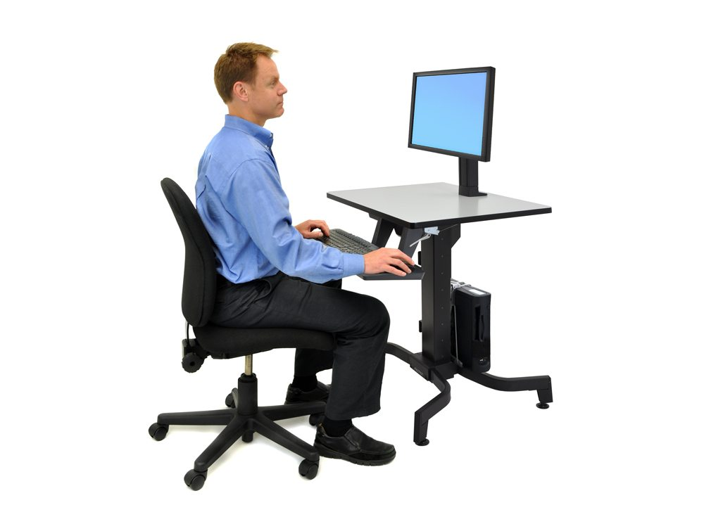 Ergotron WorkFit PD Sit Stand Desk in Grey Side Angle