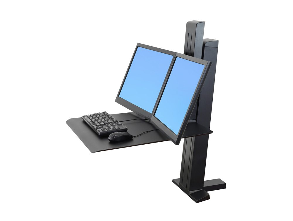 Ergotron WorkFit-SR Dual Monitor Sit Stand Workstation Side Angle