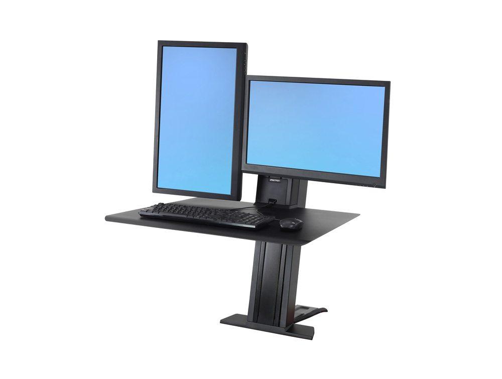 Ergotron WorkFit-SR Dual Monitor Sit Stand Workstation Vertical
