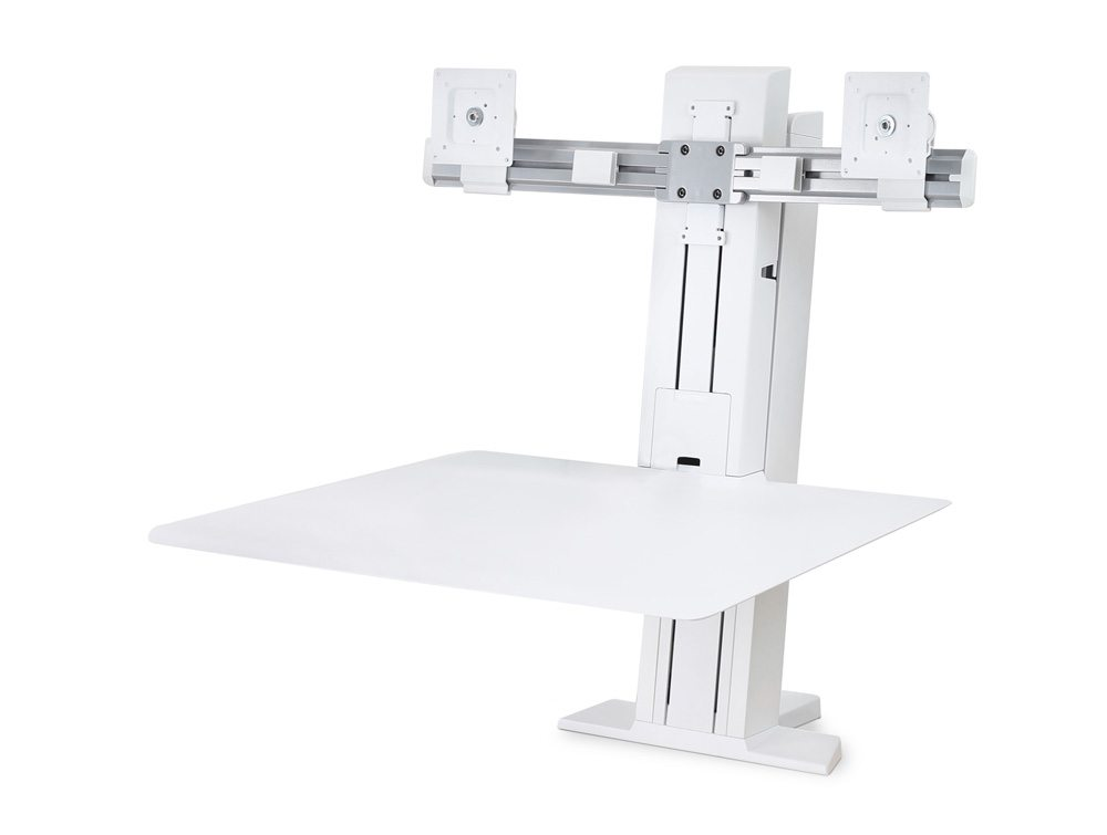 Ergotron WorkFit-SR Dual Monitor Sit Stand Workstation in White without monitors