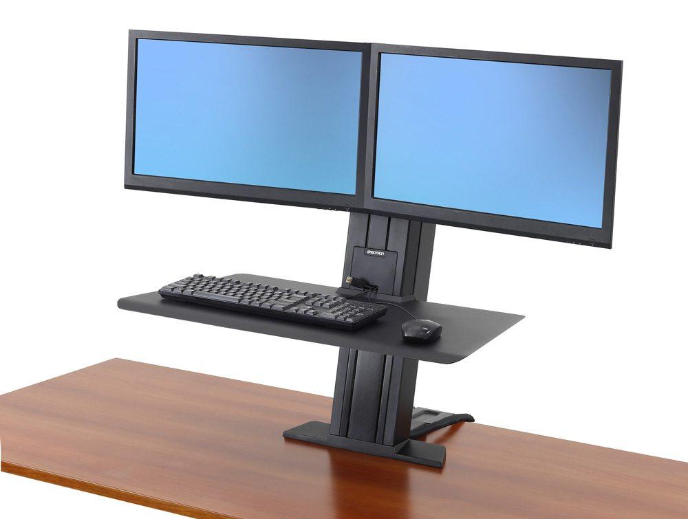 Ergotron WorkFit SR Dual Monitor Sit Stand Workstation with Short Work-surface