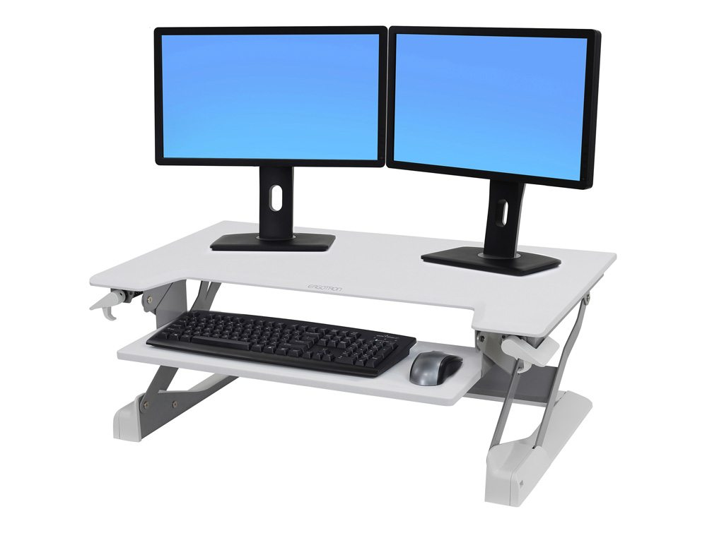 Ergotron WorkFit TL Sit Stand Desktop Workstation in White with keyboard monitors