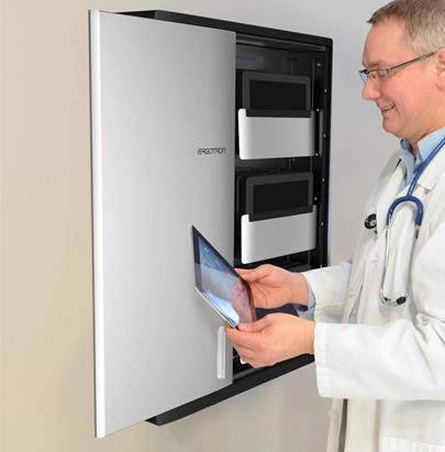 Ergotron Zip12 Charging Wall Cabinet for Hospitals and Schools