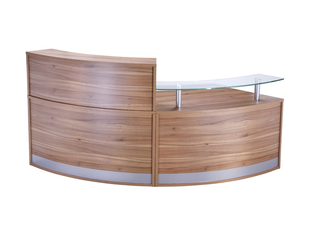 FHR-LHR Elite 2-Section Semi Circle Reception Unit in Walnut