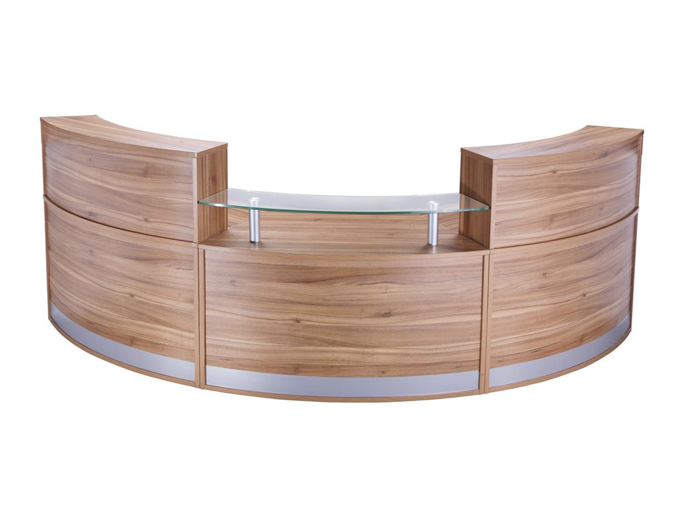 Elite 3 Section Semi Circle Reception Unit In Black Walnut