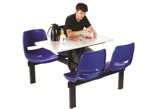 Fast Food Seating Four Seater Fixed Table and Chair Blue Canteen Table