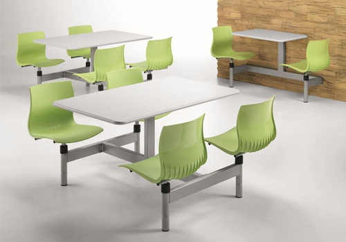 Fast Food Seating Four or Two Seater Fixed Table and Chair Apple Green and White