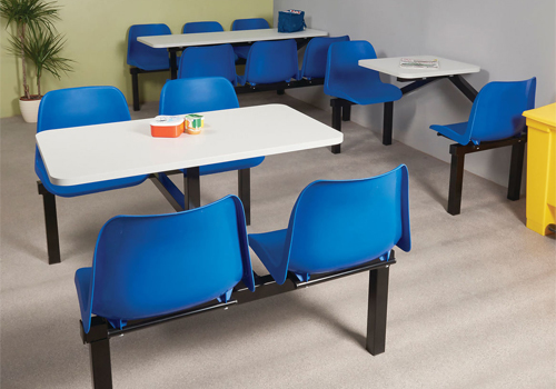 Fast Food Seating Two Four or Six Seater Fixed Table and Chair in Blue for Canteen Area