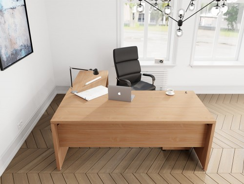Fermo Executive Desk in Beech Finish with Black Chair