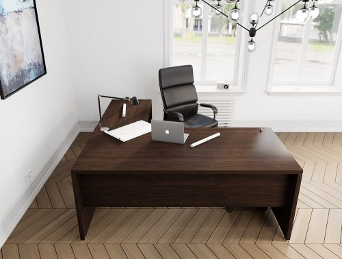 Fermo Executive Office Manager Desk with Add-on Unit and Chair in Dark Walnut Finish