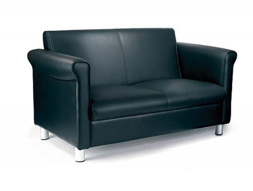 Florence Leather Faced 2-Seat Sofa in Black