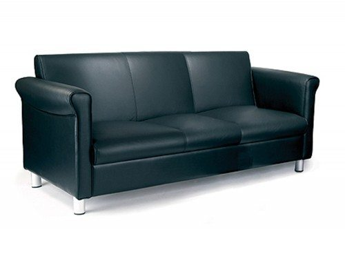 Florence Leather Faced 3-Seat Sofa in Black