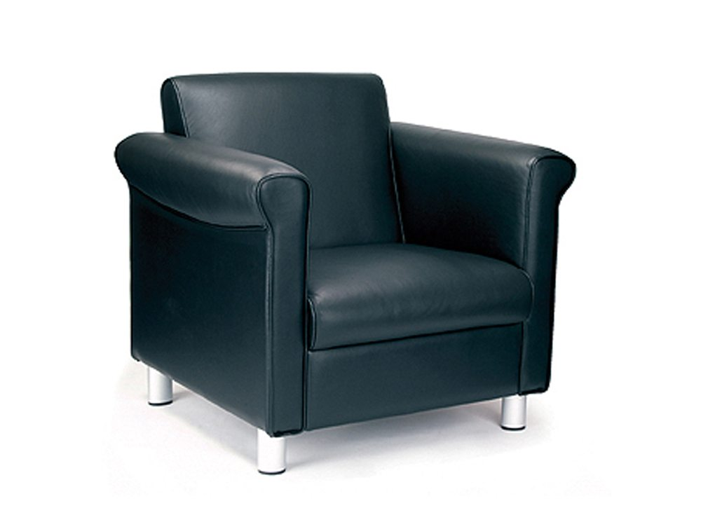 Florence Single Armchair In Black In Leather