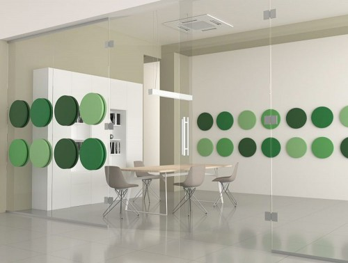Fluffo Glass Acoustic Panels with Suction Caps Mounting System Dot Round Shap Meeting Room