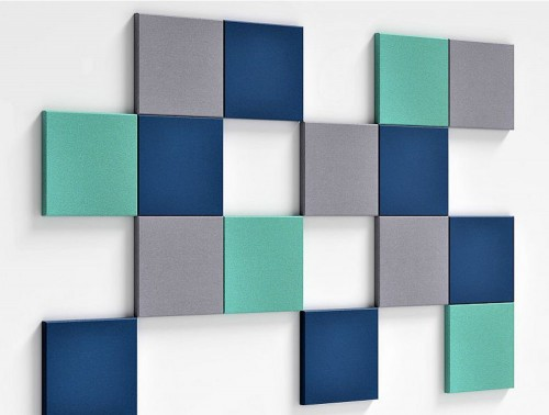 Fluffo Pixel Edge Sound Absorbing Wall Mounted Panels Grey Blue Green