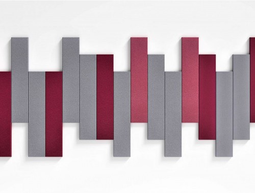 Fluffo Stick Edge Sound Absorbing Wall Mounted Acoustic Panel Burgundy Grey