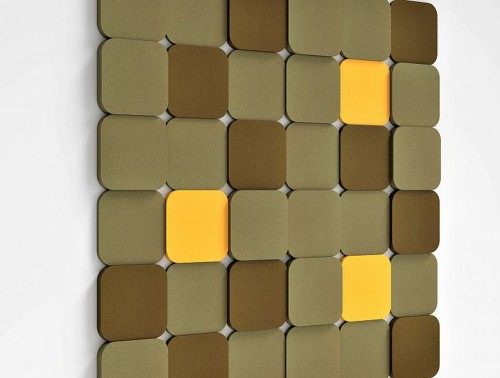 Fluffo Tele Acoustic Panel in Khaki Brown Yellow