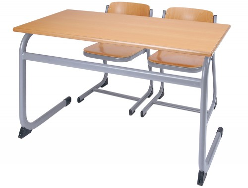 Form Cantilever Secondary School Classroom Double Desk with Two Chairs in Beech