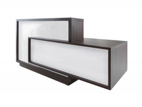 Foro reception desk in white and dark brown