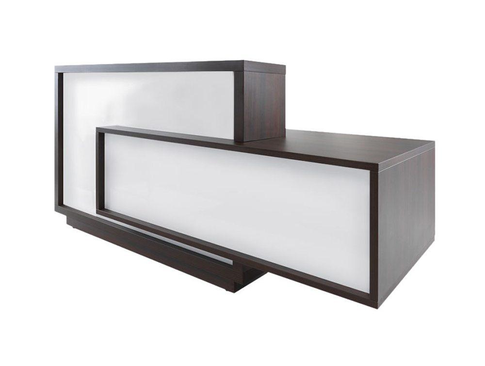 Foro reception desk in white and dark brown