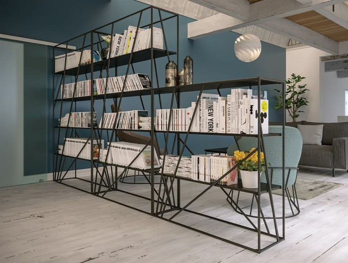 Foundry Rustic Tall and Medium Wooden and Metal Black Palisades Bookcase