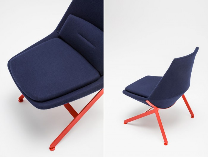 Frank-Comfy-Lounge-Armchair-with-Four-Legged-Base-with-Blue-Upholstery-and-Red-Leg-Base-Close-View