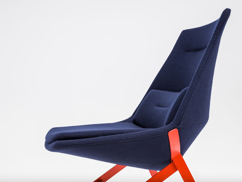 Frank-Comfy-Lounge-Armchair-with-Four-Legged-Base-with-Blue-Upholstery-and-Red-Leg-Base