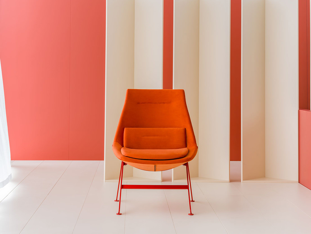 Frank-Comfy-Lounge-Armchair-with-Four-Legged-Base-with-Orange-Upholstery-and-Red-Leg-Base