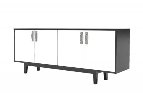 Frovi-Jig-Credenza-High-Storage-Unit-with-Black-Cabinet-with-Black-Base-and-White-Doors
