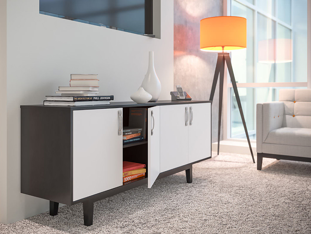 Frovi-Jig-Credenza-High-Storage-Unit-with-Black-Oak-Cabinet-and-White-Doors-in-Office